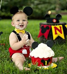 Boys Mickey Mouse Cake Smash Set, First Birthday Mickey, Photo Prop - Birthday Cake Vanilla Ideen Festa Mickey Baby, Theme Mickey, Bolo Mickey, Mickey Party, Mickey Mouse Outfit, Pirate Party, Boys 1st Birthday Cake, Mickey 1st Birthdays, Mickey Mouse First Birthday