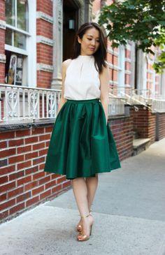 Emerald Green Midi Skirt