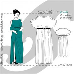 """Loose-Fit Easy-to-make Dress Pattern. Centre-Back length: about 140cm/56"""""""