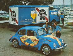 Vintage trade ad with Pabst Blue Ribbon beer truck and Levis for feet VW Bug by emeraldtoys, via Flickr