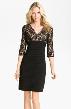 Free shipping and returns on Adrianna Papell Lace Bodice Banded Sheath Dress (Regular & Petite) at Nordstrom.com. A romantic lace overlay against the surplice, Empire-waist bodice artfully juxtaposes the banded pencil skirt of a mixed media sheath dress.