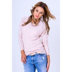30173777f243 Dámsky pletený pulóver pudrovo ružovej farby - fashionday.eu