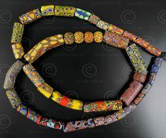 A lot of 40 millefiori glass beads.19th century. Made in Murano, Italy for trade to Africa. Found in Mauritania. African Trade Beads, Antique Art, Glass Beads, Diy Projects, Antiques, 19th Century, Jewelery, Italy, Vintage