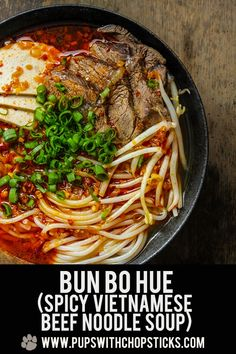 A Vietnamese spicy beef noodle soup (Bun Bo Hue) packed with flavour. If you love Pho, and you love a bit of spice the definitely give Bun Bo Hue a try. Beef Soup Recipes, Noodle Recipes, Real Food Recipes, Gumbo Recipes, Beef Noodle Soup, Beef And Noodles, Bun Bo Hue Recipe, Asian Recipes, Amigurumi
