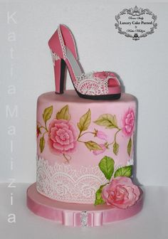 Fashion Shoe cake by Luxury Cake Painted by Katia Malizia - http://cakesdecor.com/cakes/230457-fashion-shoe-cake