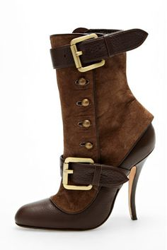 Leather Boot With Spat And Buckle Detail #shoes, #fashion, #pinsland, https://apps.facebook.com/yangutu
