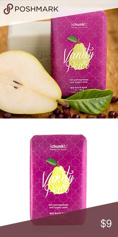 🍐 Perfectly Posh Vanity Pear Chunk 🍐 Wash away the signs of aging skin with this antioxidant-packed, sustainably sourced palm oil Chunk Bath Bar, filled with avocado, pear, and pomegranate, plus brightening turmeric and ginger, featuring a fruit-forward pear and pomegranate scent. Lather into hands and clean from head to toe, then rinse thoroughly. Use daily in the shower or bath. Follow with moisturizer Perfectly Posh Makeup