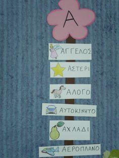 Great idea for teaching letters to small kids! Greek Alphabet, Teaching Letters, Beginning Sounds, Preschool Activities, Literacy, Kindergarten, Blog, Poster, Language