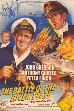Pursuit of the Graf Spee The Battle of the River Plate (original title) Classic Movie Posters, Original Movie Posters, Classic Movies, Film Posters, Classic Tv, Patrick Macnee, John Gregson, Christopher Lee, Tv Series Free