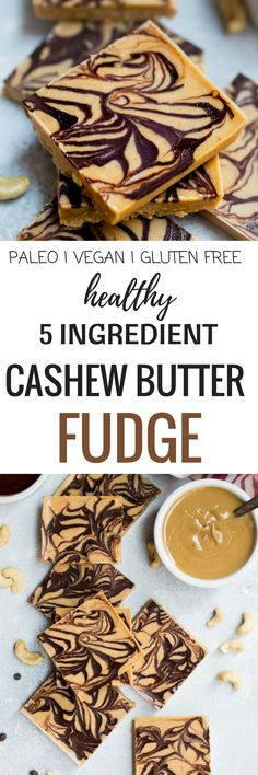 This quick and easy Paleo Cashew Butter Fudge only has 5 ingredients. Healthy chocolate fudge recipe. It takes less than 5 minutes to make and tastes incredible. The recipe is completely gluten free, dairy free & refined sugar free!