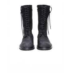 Ann Demeulemeester Leather Boots ($899) ❤ liked on Polyvore featuring shoes, boots, ann demeulemeester, genuine leather boots, leather footwear, ann demeulemeester boots and real leather shoes