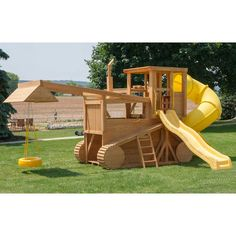 Amish Made 23x12 ft Bulldozer and Backhoe Playground Set with Upgrades