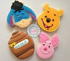 Winnie the Pooh~             By SugarySweetCookies. Sweet little characters come to life in this cookie set.Perfect for the Winnie the Pooh lover in all of us!Cookies are handcut and decorated just for you.Set comes with: yellow Winnie the Pooh, pink Piglet, blue Eeyore and Brown Hunny Pot Each cookie measures approximately 3-3.5 inches each and comes individually wrapped and sealed for max protection and freshness.Thank you for choosing SugarySweetCupcakes