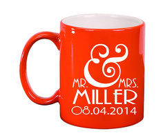 Ceramic Mugs - Round 11oz - Mr. & Mrs. Personalized with Date