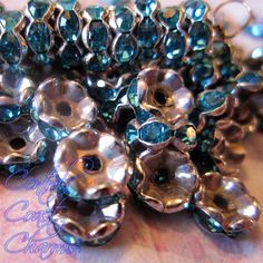 8 mm Aged Silver Turquoise Blue Czech Crystal Rhinestone Rondelle Spacers 50 pcs - Wavy Edge - Vintage Shabby Style
