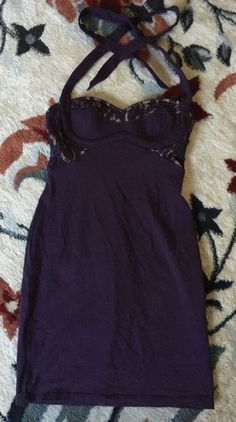 Moda International Womens Bodycon Purple Halter Dress Size XS #ModaInternational #StretchBodycon