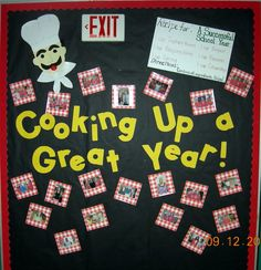 back to school bulletin board ideas bakery theme - Bing images Cafeteria Bulletin Boards, Back To School Bulletin Boards, Bulletin Board Display, Classroom Bulletin Boards, Classroom Themes, Classroom Door, Nutrition Education, Sport Nutrition, Child Nutrition