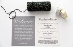 Wedding Welcome Bag Cards Weekend Itinerary by PaperPleaseStudio, $150.00
