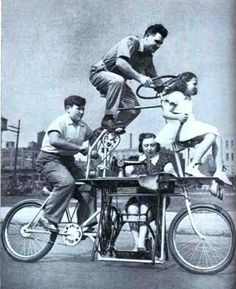 64.) This bicycle fit a family of four and it included a sewing machine (1939).