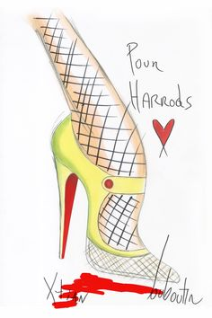 Christian Louboutin sketches for his Harrods Shoe Heaven exclusives