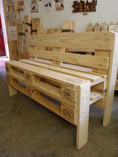 Bench made from several Euro pallets