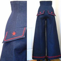 Pin Up Sailor High Waist Wide Stretch Jeans Pants Size 0 2 4 6 8 10 12 Vintage Inspired Fashion, 40s Fashion, Denim Fashion, Fashion Outfits, Style Fashion, Vintage Fashion, Vintage Jeans, Vintage Outfits, Vintage Clothing