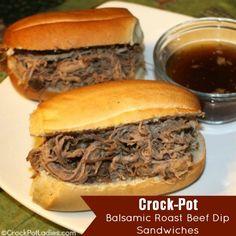 Crock-Pot Balsamic Roast Beef Dip Sandwiches. http://crockpotladies.com/recipe-categories/entrees/crockpot-balsamic-roast-beef-dip-sandwiches/?ref_related_posts=3735431.1448.9amsvon.147572350