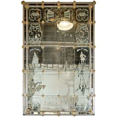 Vintage Monumental Eglomise Venetian Mirror | From a unique collection of antique and modern wall mirrors at https://www.1stdibs.com/furniture/mirrors/wall-mirrors/