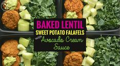 Baked Lentil Sweet Potato Falafels with Avocado Cream Sauce - Powered by @ultimaterecipe