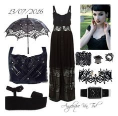 """Summer Gothic Outfit"" by angelique-von-tod ❤ liked on Polyvore featuring New Look, MANGO, LULUS and Casetify"