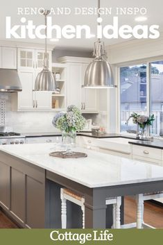 Inspire your next kitchen remodel with these kitchen design ideas and upgrades. #kitchen #kitchenremodel #kitchenideas #design #homedesign #dreamkitchen #homeimprovement #CottageLife Backsplash For White Cabinets, Cabinets And Countertops, Kitchen Backsplash, Cottage Design, House Design, Kitchen Island With Seating, Kitchen Islands, Bathroom Design Luxury, Functional Kitchen