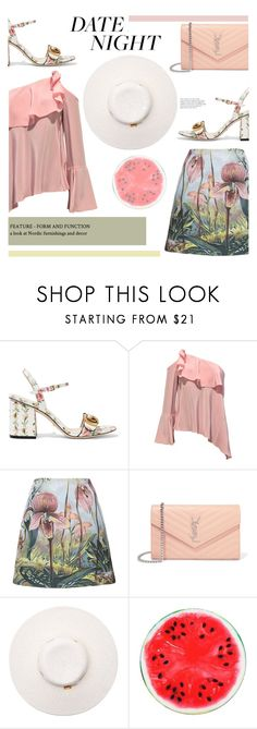 """""""DATE NIGHT : Critical Beauty"""" by riskiarrafida ❤ liked on Polyvore featuring Gucci, ADAM, Yves Saint Laurent and Melissa Odabash"""