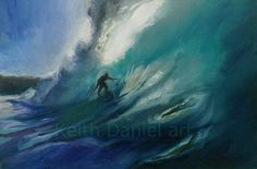 Items similar to Surfer surfing in the green room on Etsy Green Rooms, Surfing, Waves, Handmade Gifts, Painting, Outdoor, Etsy, Vintage, Art