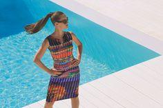 Joseph Ribkoff Dress | Gold trim neckline | Multi-Colour NEW at ASPIRATIONS.