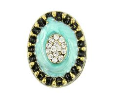 Rhinestone Bouquet in Turquoise Enamel Antiqued Gold Oval Metal Shank Buttons - 25mm - 1 inch