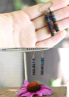 Color Column // Sequin Earrings // Multicolor by bytherockandweed
