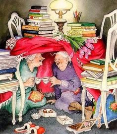 Ideas funny love illustration inge look Norman Rockwell, Belle Photo, Old Women, Book Worms, Tea Party, Illustration Art, Friends Illustration, Gifs, Old Things