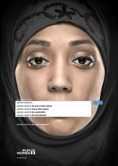 I truly love when advertising takes a problem and presents it so raw. And presenting the solution is very quiet but effective. My only concern is that I can see where these search boxes might be seen as blocking women's voices, but some might see them as what the women are saying themselves. Overall, love the ads!