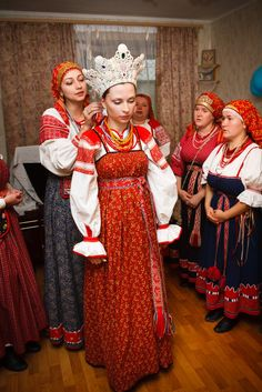 Preparing a bride for her wedding in Veliky Novgorod, Russia.