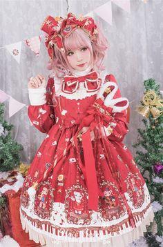 Bear Symphon ~Music Bear~ Sweet Lolita Stand Collar Long Sleeves OP Dress$101.99 - My Lolita Dress