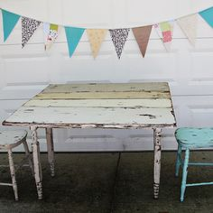 Distressed farmhouse table. Happy weekend friends!