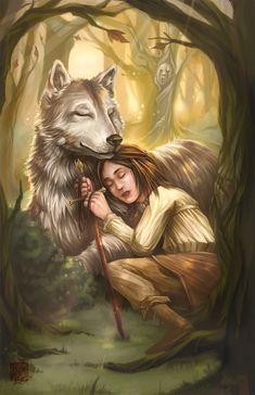 Fanart - Valar Morghulis by *fictograph on deviantART #Arya #Nymeria #GameOfThrones