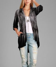 Loving this Black & Gray Tie-Dye Hi-Low Open Cardigan - Plus Too on #zulily! #zulilyfinds
