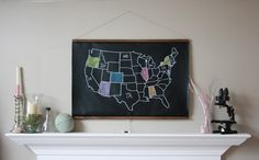 Chalkboard United States Map -- LARGE SIZE // USA // America // School Decor // Homeschool // Wall Hanging // Travel // Poster by dirtsastudio on Etsy https://www.etsy.com/listing/69802590/chalkboard-united-states-map-large-size