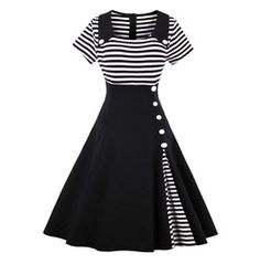 Vintage Retro Black And White Striped Dress 149938