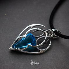Sterling silver wire wrapped pendant swiss blue quartz   wire around ...