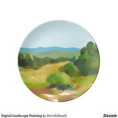 Digital Landscape Painting Dinner Plate  Also available on many more products, click the link and type in the name of this design in the search bar on my products home page to see them all!  #landscape #plein #air #impressionism #digital #painting #paint #green #yellow #blue #sky #sun #shine #field #tree #mountain #air #air #nice #clean #crisp #cool #sooth #soothing #relax #calm #peace #peaceful #horizon #perspective #atmosphere #distance #dinner #plate #home #decor #kitchen #dining