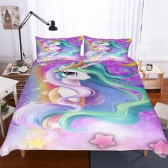 Purple Comforter, Comforter Cover, Comforter Sets, Duvet Cover Sets, Girls Bedding Sets, Cute Bedding, Bedding Shop, Unicorn Duvet Cover, Unicorn Bedroom