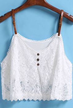 White Strap Buckle Lace Vest