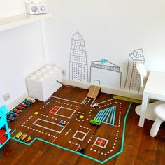 Make your own toy car track with washi tape
